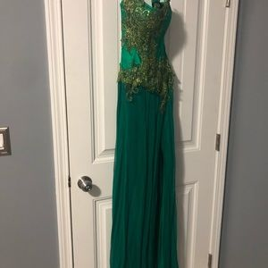 Gorgeous green strapless gown
